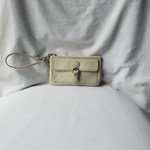 Coach White Leather wristlet with Silver Hardware